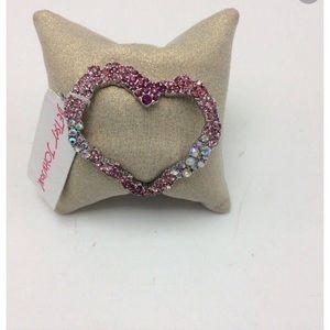 Betsey Johnson heart Rhinestone bracelet cuff